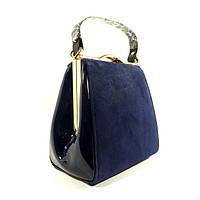 Синяя сумочка 6839-6 натуральная замша и лак, комбинированная