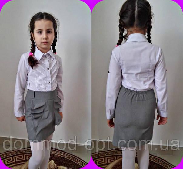 Детская школьная юбка с воланами №569-1 / в расцветках