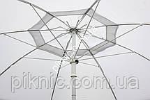 Белый пляжный зонт 1,8 м клапан и наклон. Плотная ткань. Тканевый чехол. Зонтик для пляжа от солнца, фото 2