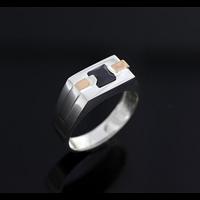 Мужская серебреная печатка с золотом 34943