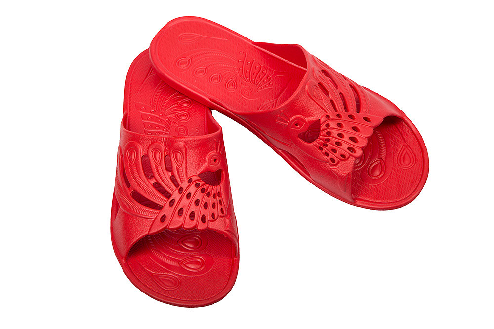 Женские шлепки на тонкой подошве красные (Код: ПЖ-27)