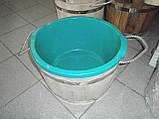 Ведро-запарник для веника дубовое с пластиком, фото 2