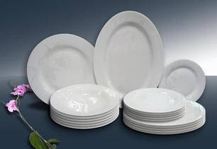 Посуда столовая для сервировки белая керамическая