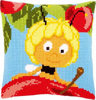 """Набор для вышивки крестом """"Подушка """"Майя на красном яблоке"""""""