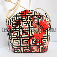 Стильная разноцветная сумочка-клатч с летним принтом и длинной ручкой
