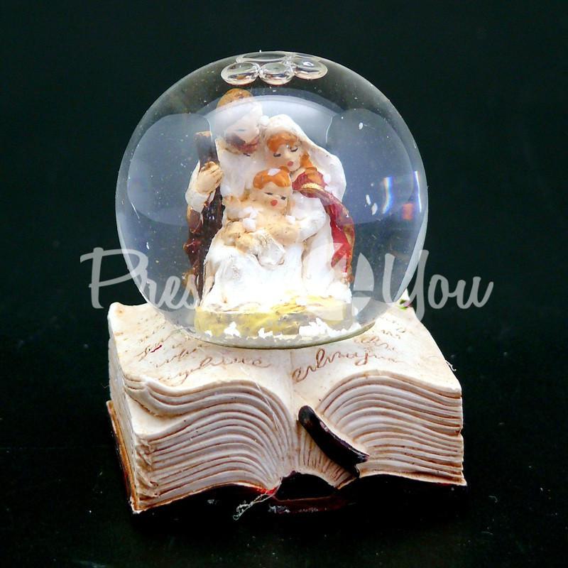 Новогодний сувенир водяной шар «Вертеп», h-4,5 см.