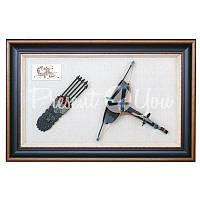 Настенное панно «Арбалет со стрелами», 90x140x9 см.
