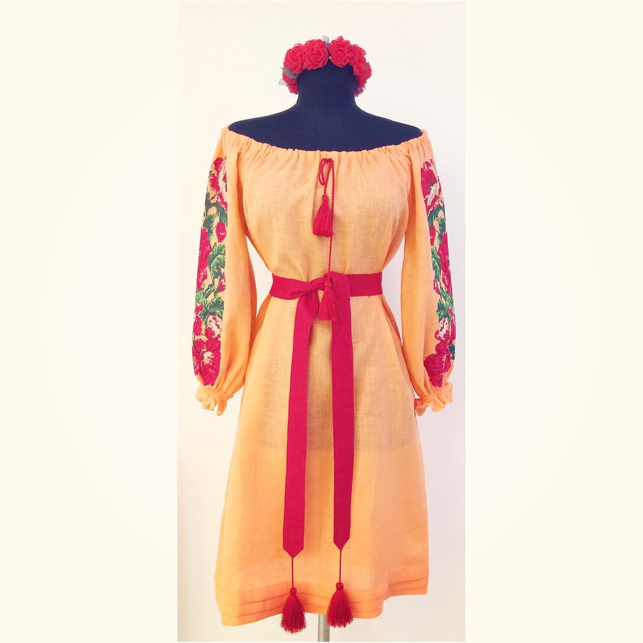 b985b2e67dabdb Вишита сукня на плечі персик льон вишивка троянди на рукавах ...