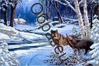 """Схема для частичной вышивки бисером """"Волки"""""""