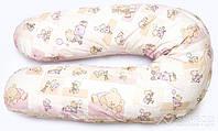 """Наволочка на подушку для беременных и кормления ОП-15 OLVI с рисунком """"Мишка на розовом"""""""