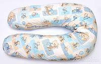 """Наволочка на подушку для беременных и кормления ОП-15 OLVI с рисунком """"Мишка на голубом"""""""