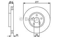 Диск тормозной передний Toyota Avensis Т25 1.6/1.8 2003-->2008 Bosch (Германия) 0 986 479 S09