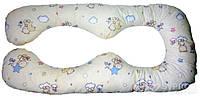 """Наволочка Лежебока на подушку для беременных """"Восьмёрка"""" с рисунком «Звёздочки на светлом»"""