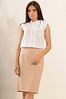 Белая женская блуза для школы или офиса с воротником стойка