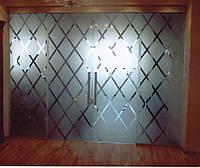 Стеклянная перегородка с распашной дверью