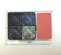Палитра с четырьмя оттенками теней и блеск для губ 001 Dior (тестер)