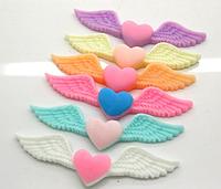 Полубусина (3 шт) Крылья-сердце микс Пластик 50 мм
