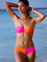 Оранжево-розовый  купальник-бандо Victoria's Secret