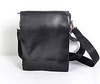 Чоловіча  наплічна шкіряна  сумка-планшетка  Cantlor (чорна)
