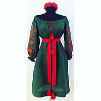 Вышитое платье со спущенными плечами летнее зеленый лен