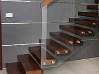 Цельностеклянные ограждения на лестницы