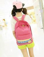Молодежный рюкзак с орнаментом на кармане розовый