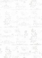 Упаковочная бумага белая с напылением односторонняя - Завитки, 50x70 см, 1 шт