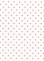 Упаковочная бумага с сердечками односторонняя - Белая с красным, 50x70 см, 1 шт
