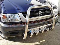 Защита переднего бампера кенгурятник высокий D60 на Toyota Hilux 2005-2011