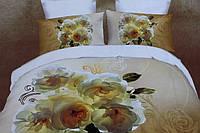 5D Постельное белье Евро размера East Comfort - молочные цветы