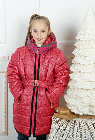 Зимнее пальто для девочки Лиза вязаный воротник