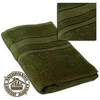Махровое полотенце оливка (100*150)