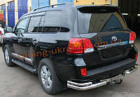 Защита заднего бампера уголки двойные D60-42 на Toyota Land Cruiser 200 2007-2012