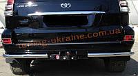 Защита заднего бампера уголки одинарные D60 на Toyota Land Cruiser 200 2007-2012