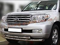 Защита переднего бампера труба двойная D60-42 на Toyota Land Cruiser 200 2007-2012