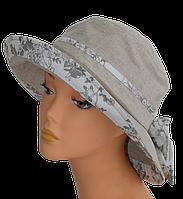 Женская шляпка Маленькая поляна лен кофе , купить