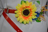 Красный лаковый пояс с цветами, 65/60 (цена за 1 шт. + 5 гр.)