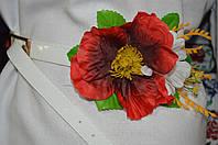 Красивый лаковый пояс декорирован цветами, 65/60 (цена за 1 шт. + 5 гр.)