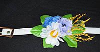 Нежный белый пояс с цветами, 65/60 (цена за 1 шт. + 5 гр.)