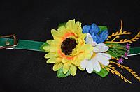 Лаковый модный пояс с цветами зеленого цвета, 65/60 (цена за 1 шт. + 5 гр.)