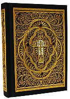 Библия большая с литьем и филигранью (золото) и гранатами (22*30*6) в замшевой шкатулке