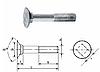 Болт М10х25 с потайной головкой и квадратным подголовником сталь кл. пр. 8.8, ЦБ DIN 608