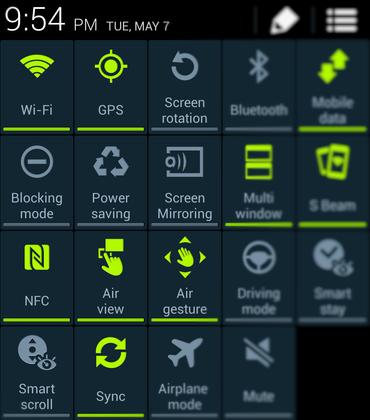 Screen shot of fast menu i9500 samsung galaxy s4