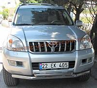 Защита переднего бампера труба двойная D60-42 на Toyota Land Cruiser Prado 120 2002-2009