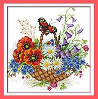 Цветочная корзина и бабочки Набор для вышивания крестиком с печатью на ткани 14ст