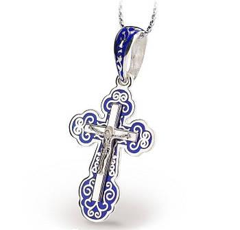 Серебряный Крестик с синей эмалью и распятием