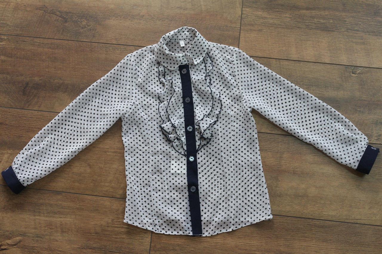 Школьная шифоновая блузка белая в синий горошек для девочки, Польша 122-152