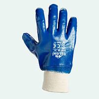 Перчатки нитриловые, МБС. Перчатки с двойным нитриловым покрытием. Долони №850, фото 1