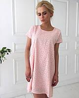 Женское летнее платье из прошвы с короткими рукавами