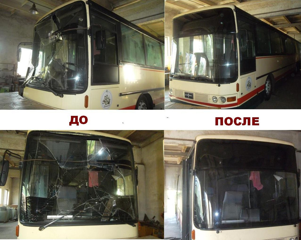 Замена лобового стекла на автобусе Van Hool Alizee